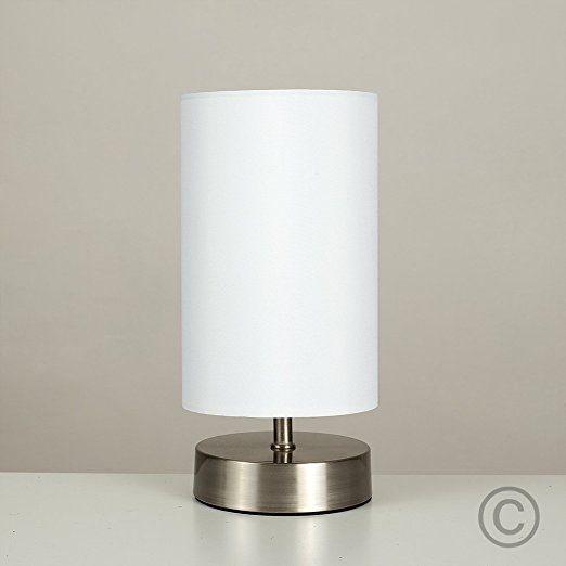 Modern Brushed Chrome Touch Dimmer Bedside Table Lamp With White