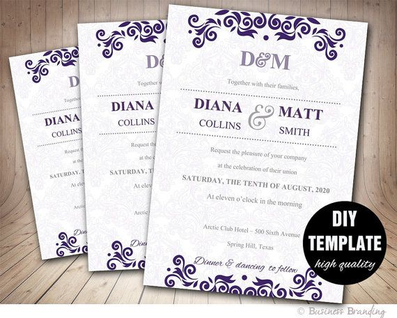Aubergine Wedding Invitation TemplateInstant Download By Paperfull