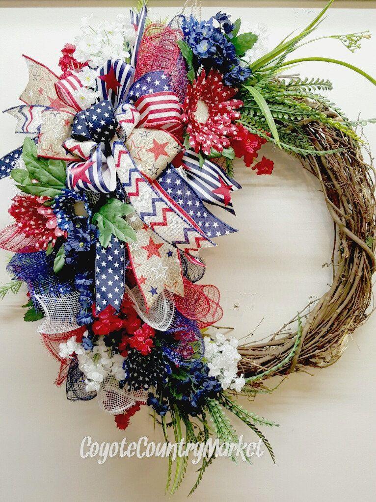 Memorial Day Wreath Patriotic Wreath Independence Day Wreath Red White Blue Wreath Patriotic Grapevine Fourth of July Wreath