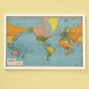 Kids Posters, Prints & Art: Kids World Map Wall Art - Framed World ...