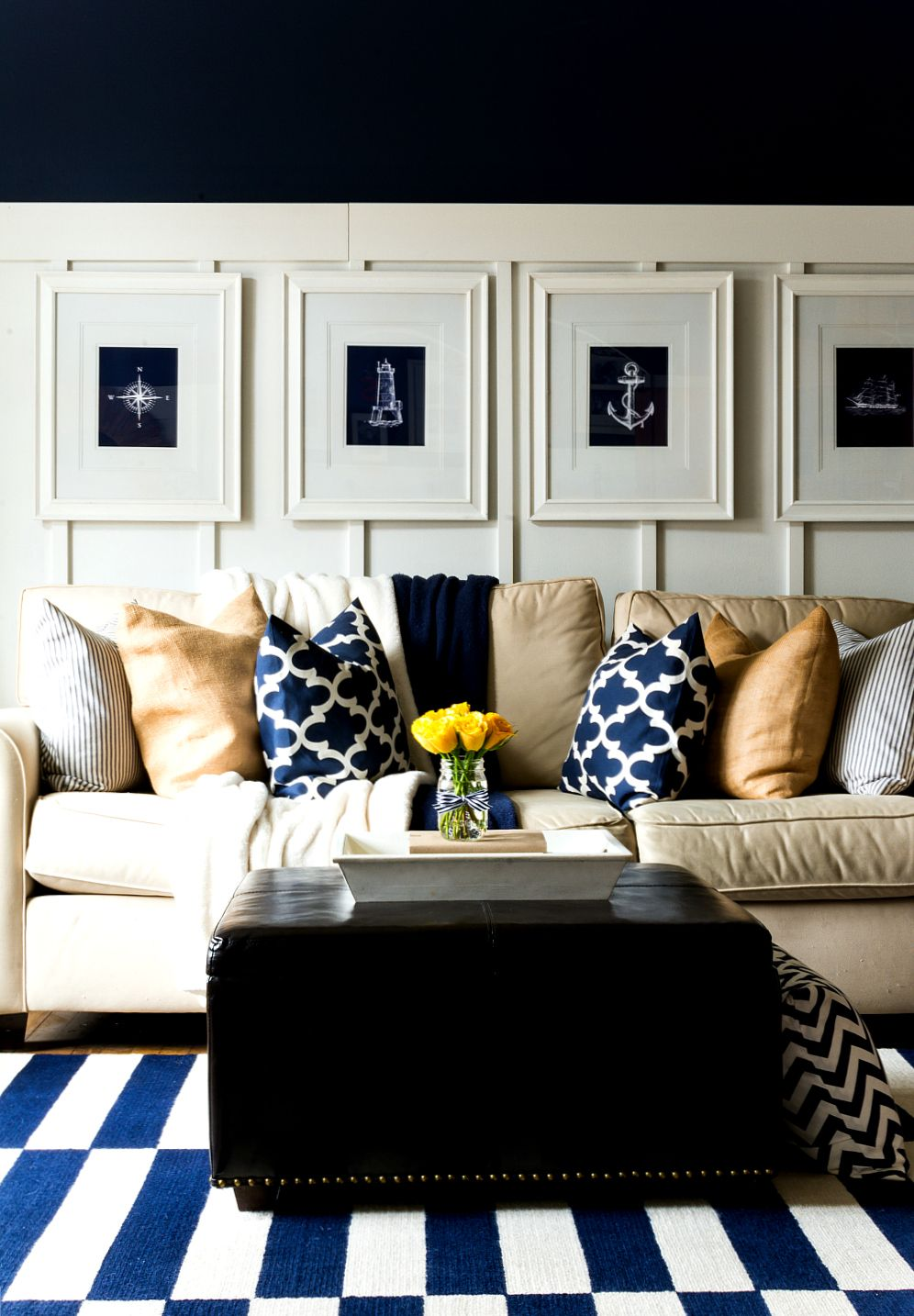 Spring Decor Ideas in Navy and Yellow | Living Room ...