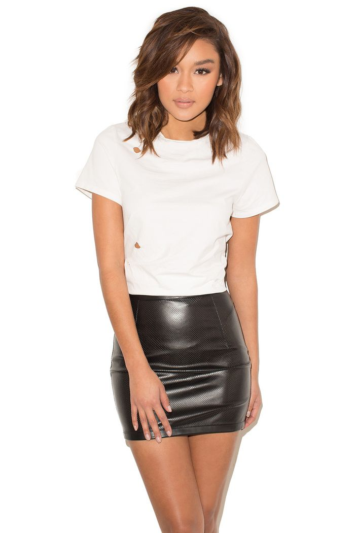 06e95f9a56 True Story Black Perforated Vegan Leather Mini Skirt | Leather in ...