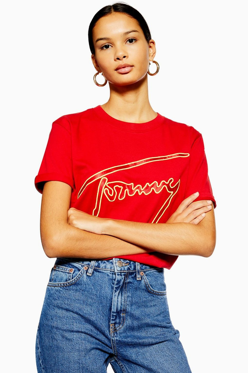 Neon Outline T Shirt by Tommy Hilfiger T Shirts Clothing