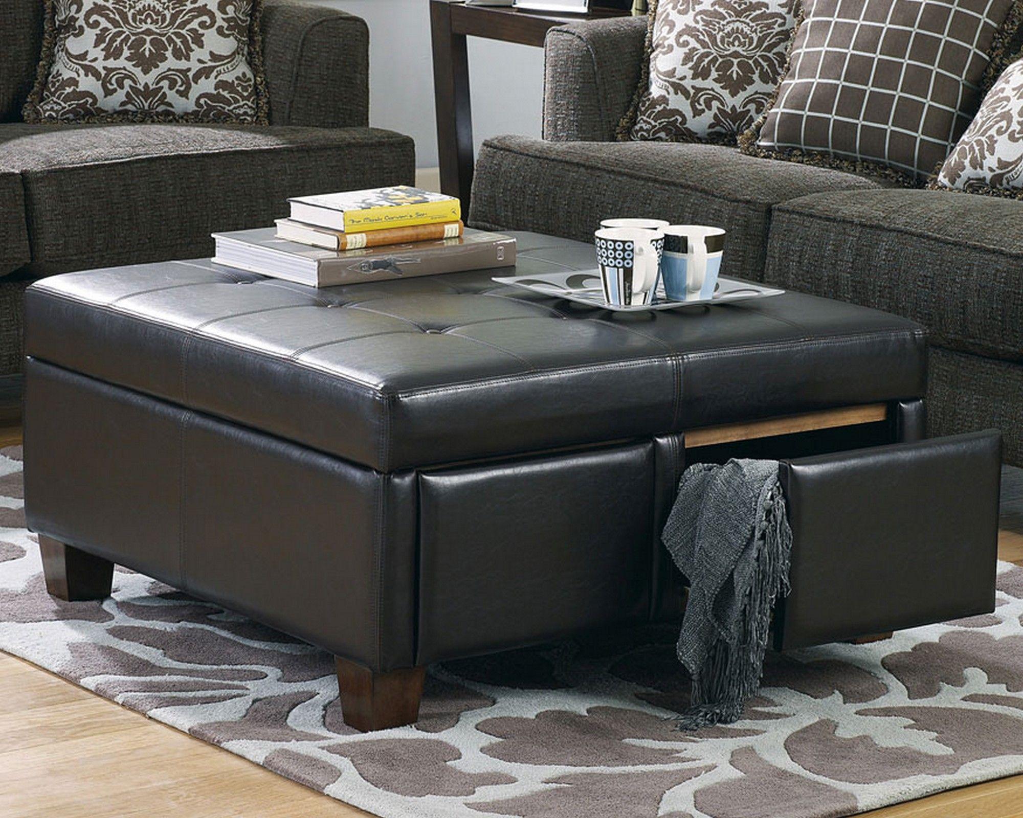 Berkeley Espresso Leather Storage Ottoman Coffee Table | Home ...