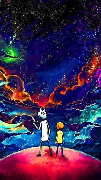 Rick And Morty Sky Stars 4k Hd Mobile Smartphone And Pc Desktop Laptop Wallpaper 3840x2160 1920x1080 2160x3 Galaxy Wallpaper Galaxy Art Samsung Wallpaper