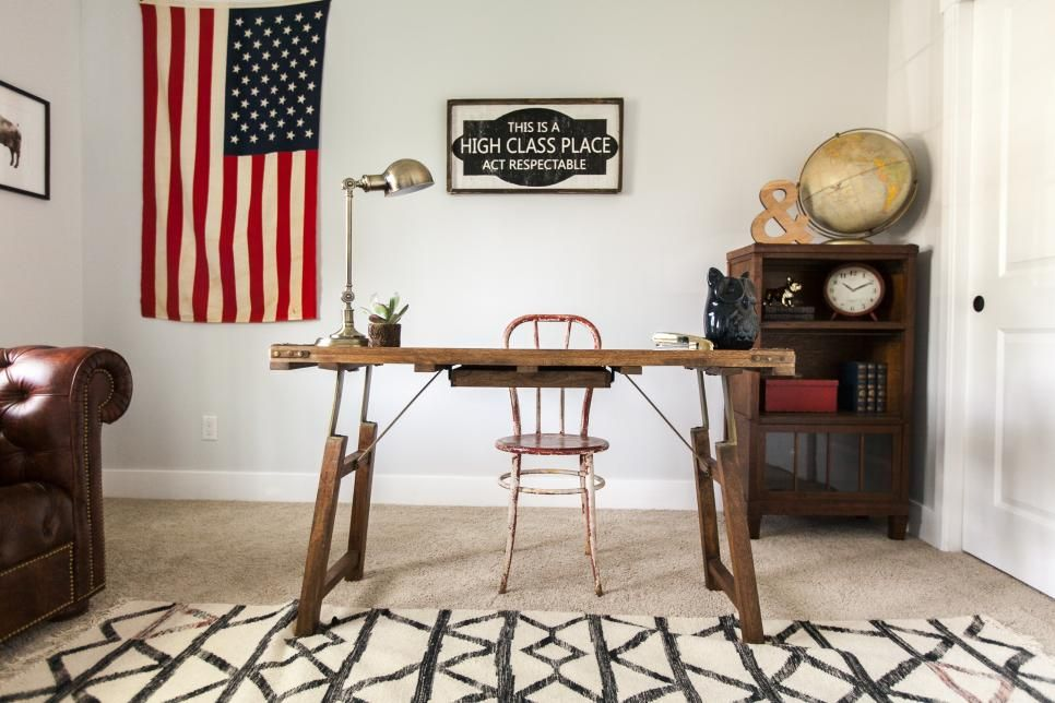 Vintage and reclaimed furniture finds add a rustic touch to this home office seen on HGTV's Rafterhouse.