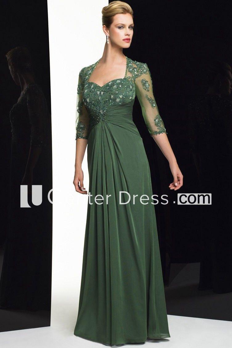 Sheath Floor-Length Sweetheart Beaded Half-Sleeve Chiffon Formal Dress With Appliques And Draping