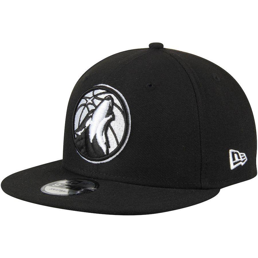 Men s Minnesota Timberwolves New Era Black 9FIFTY Snapback Adjustable Hat 725c3217b51