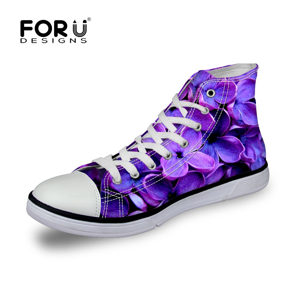 Shoes Outlet - Galaxy Women Casual Sport Shoes Canvas High Top Flat Lace Up Trainers Sneakers