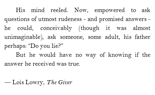 "The Giver Book Quotes Interesting Do You Lie""  The Giver Quotes  Pinterest  Books"