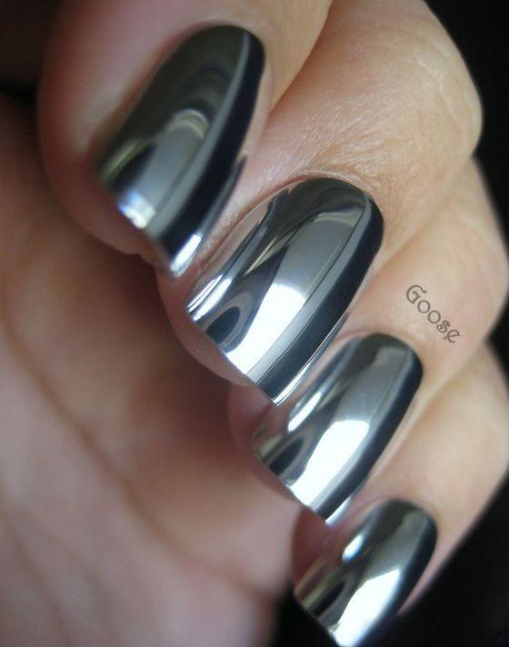 uñas plateadas pegatinas espejo | Fabulous Nails | Pinterest ...