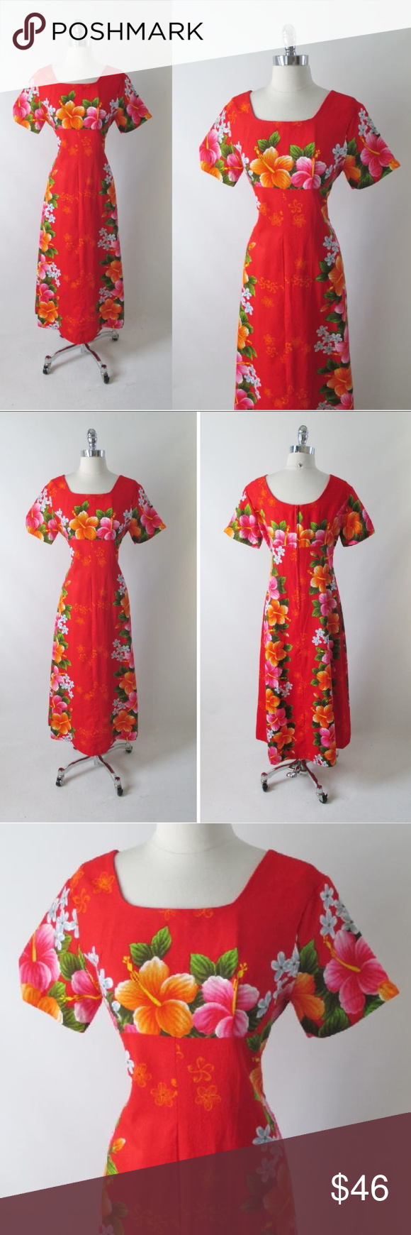 42c40b863d98 Vintage 60's Red Hawaiian Barkcloth Maxi Dress A vintage Hawaiian dress  from the 60's Red barkcloth with a bold Hibiscus print in orange and pink  Short ...