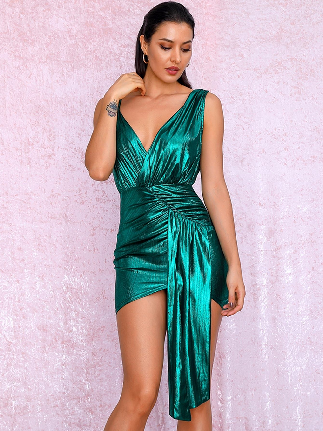 Ad Love Lemonade Solid Asymmetrical Neck Ruched Metallic Dress Tags Green Wrap Ruched Mini Fabric Is Very Str Metallic Dress Green Bodycon Dress Dresses [ 1785 x 1340 Pixel ]