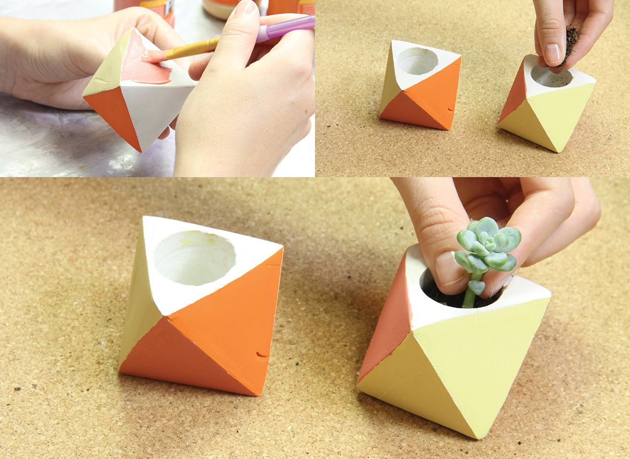 Macetas con cemento con suculenta decoraci n pinterest - Como hacer cemento ...