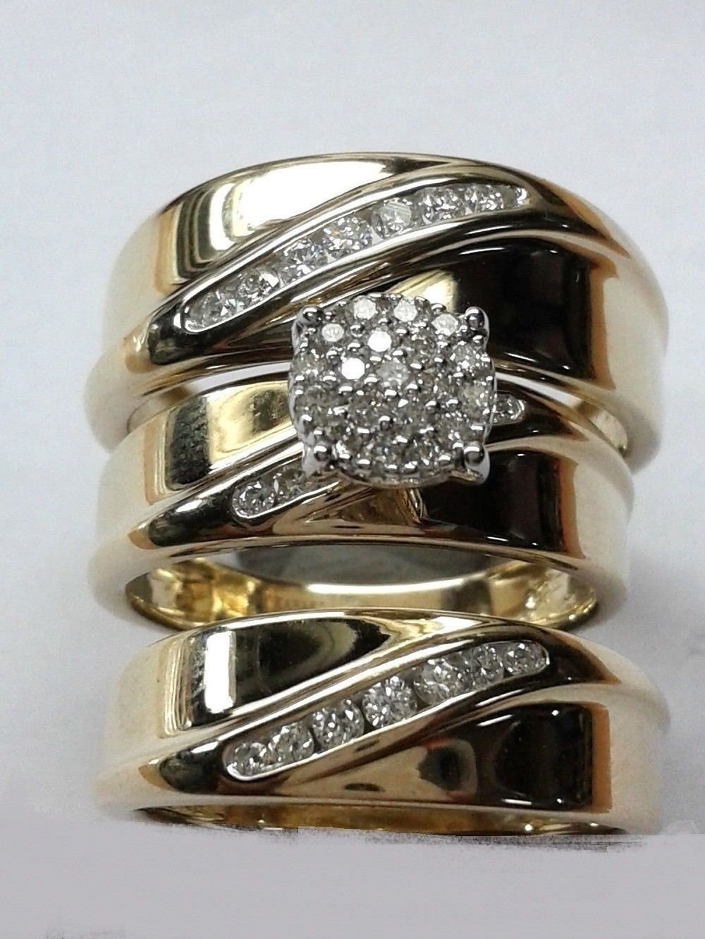 14k Yellow Gold Plated 925 Silver His & Hers Matching Trio