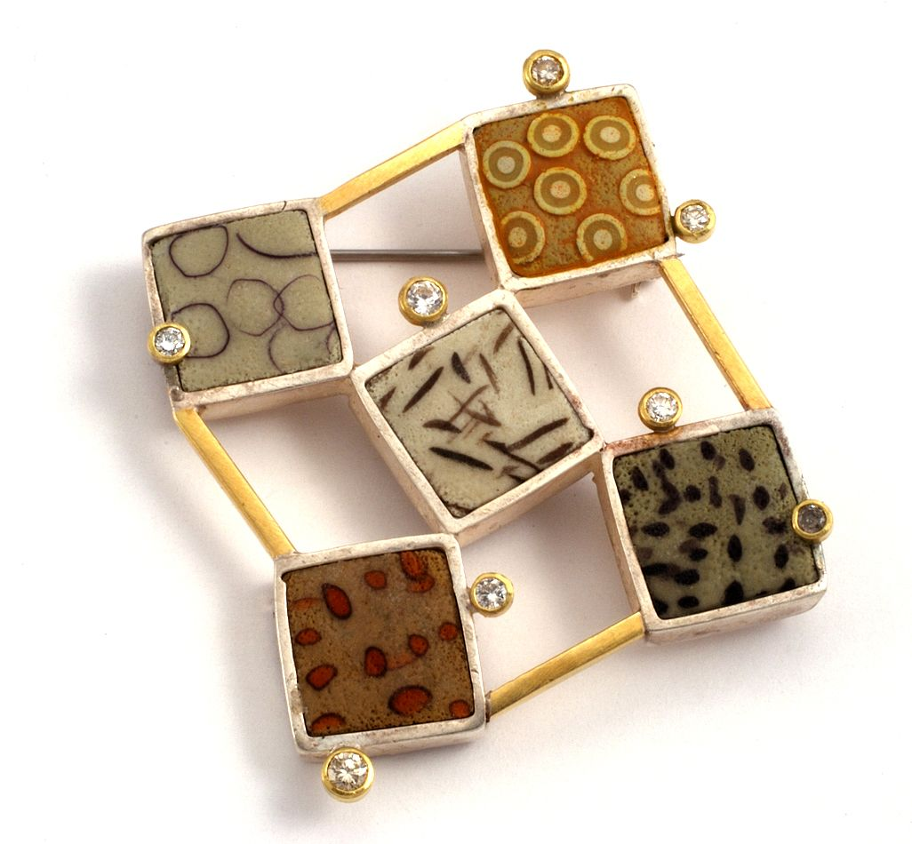 Brooch | Ford and Forlano Designs.  Polymer Clay, Sterling silver, 18kt gold and diamonds.