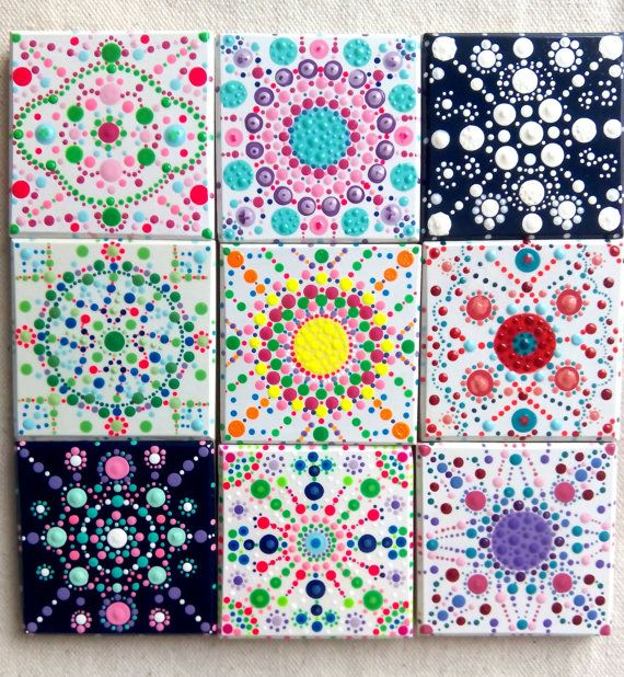 handpainted mandala tiles magnet tilesmandala von colorbakalito keramik pinterest keramik. Black Bedroom Furniture Sets. Home Design Ideas