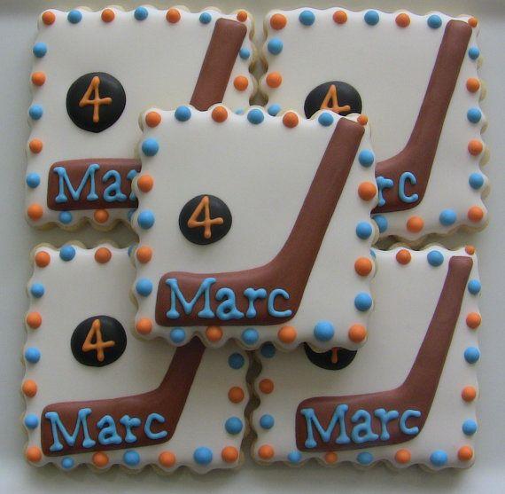 Hockey Sports Themed Birthday Cookies Hockey Birthday Cake Birthday Cookies Birthday Cupcakes