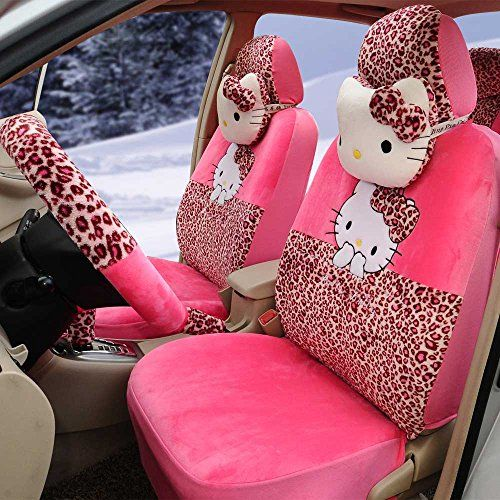 18pcs Cute Cartoon Car Seat Cover Car Steering Wheel Cover Ice Silk Universal Car Front And Rear Seat Cush Hello Kitty Car Back Seat Covers Car Seat Cover Sets