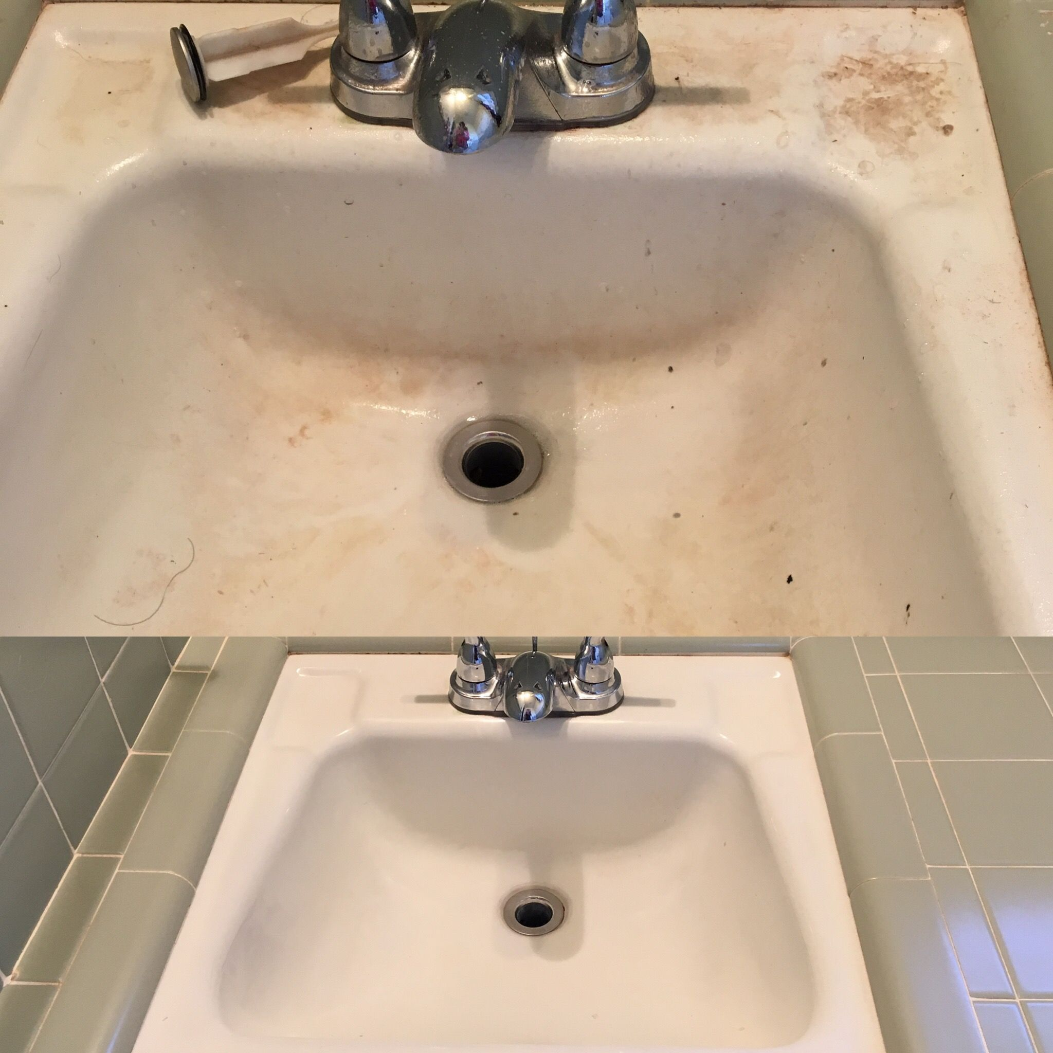 Pitted Porcelain Sink 1950s Cleaned Then Used Manic Eraser To Remove Stains