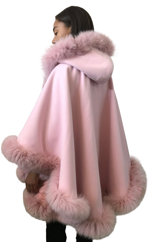 Poncho Cape hood cashmere fox fur trim