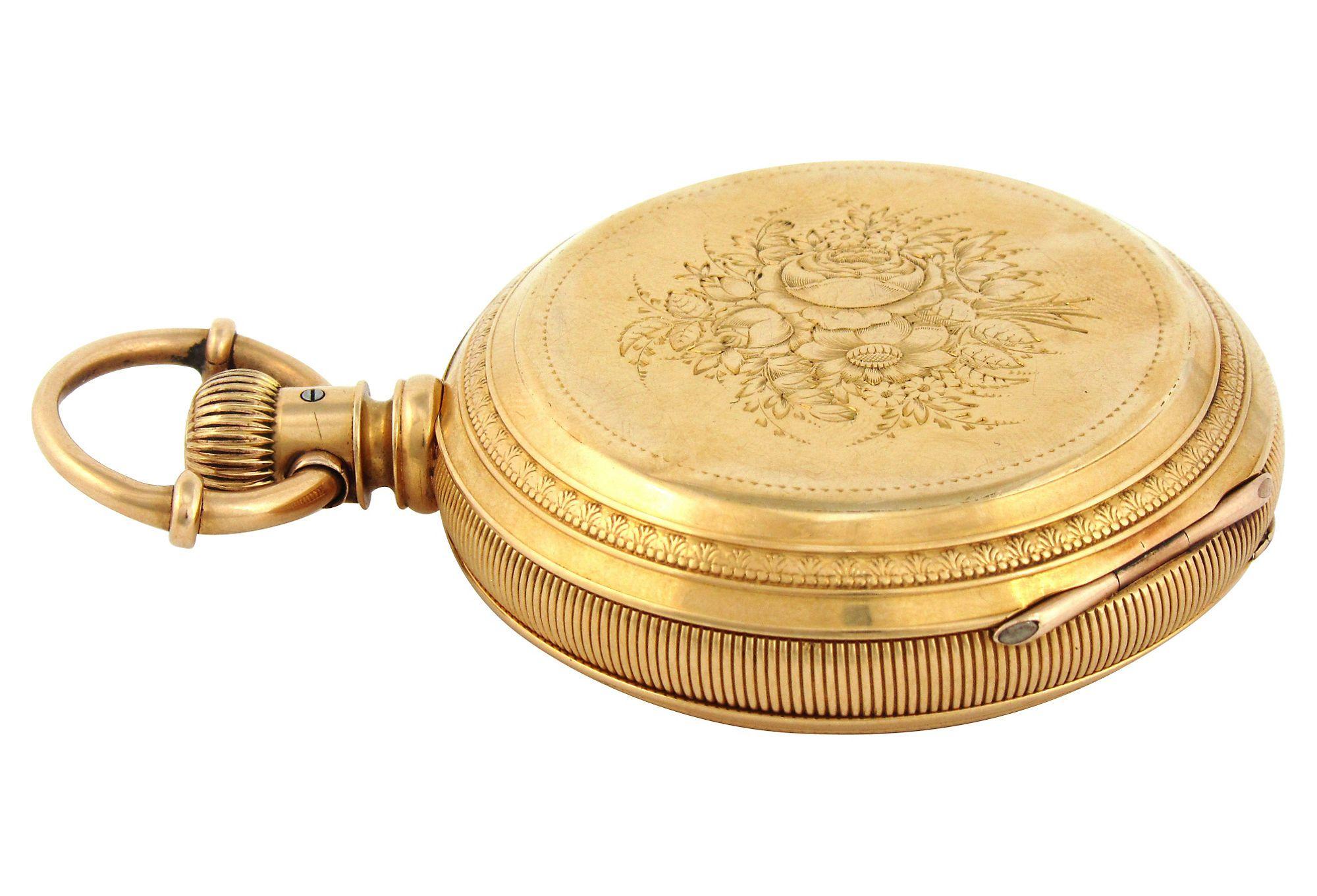 18K Hunter's Case Pocket Watch by Rockford w/ Engraved Decoration