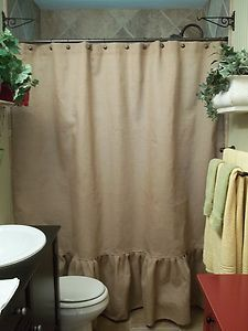 Ruffled Bottom Burlap Shower Curtain Ebay Burlap Shower Burlap
