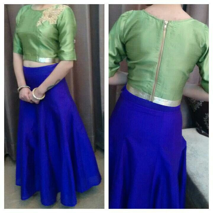 9c84abc2fa3ae Raw silk crop top and skirt