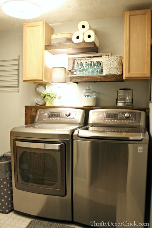 Diy Wood Shelving Laundry Storage Small Laundry Rooms