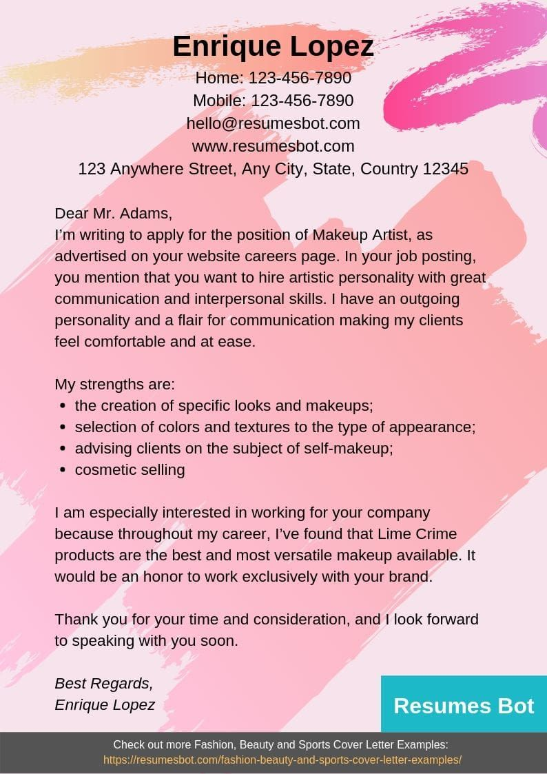 Makeup Artist Cover Letter Samples & Templates [PDF+Word