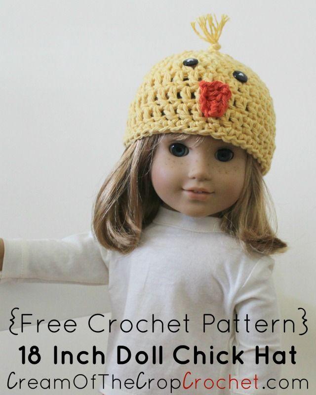Crochet 18 Inch Doll Chick Hat Pattern