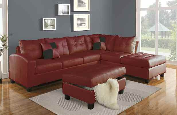 Kiva Red Bonded Leather Reversible Sectional Sofa W/2 Pillows ...