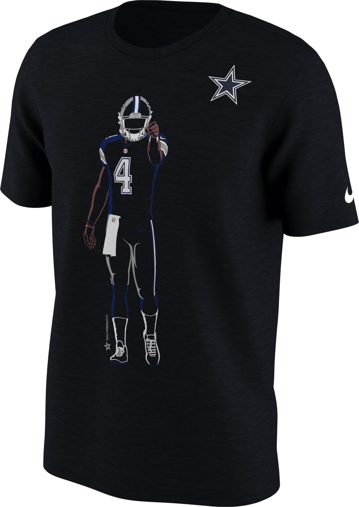 new products 73851 d1b6e Nike Youth Dallas Dak Prescott Silhouette Black T-Shirt ...