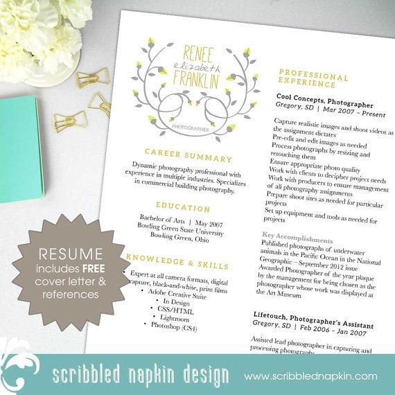 3 Piece Resume Package Unique Horizontal Layout by ScribbledNapkin