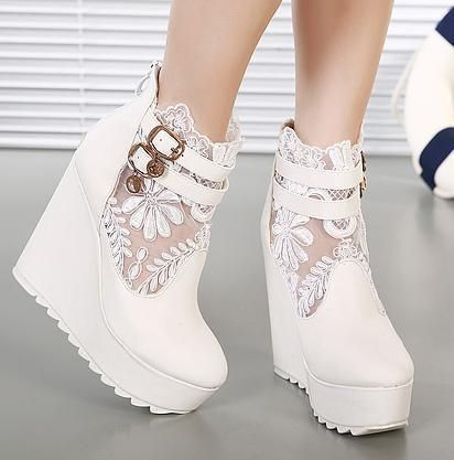 New White Lace Wedding Boots Silver