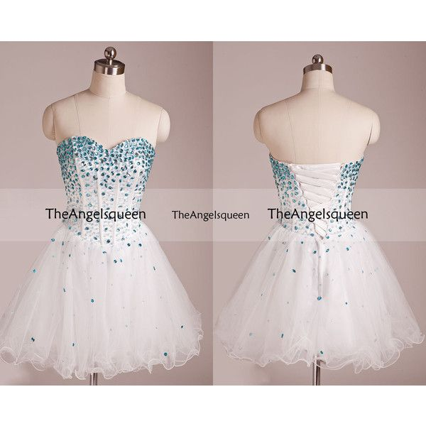 Sweetheart White and Blue Strapless Top All Beading Corset Organza... ❤ liked on Polyvore featuring dresses, bridesmaid dress, evening dress, party dress, prom dress, prom dresses, short beaded cocktail dresses, short cocktail prom dresses, bridesmaid dresses and corset dress