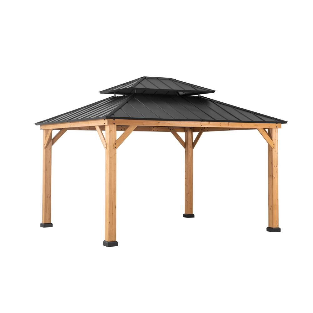 Sunjoy Archwood 12 Ft X 10 Ft Cedar Frame Gazebo With Double Tier Steel Roof Hardtop A102007500 The Home Depot In 2020 Hardtop Gazebo Gazebo Gazebo Plans