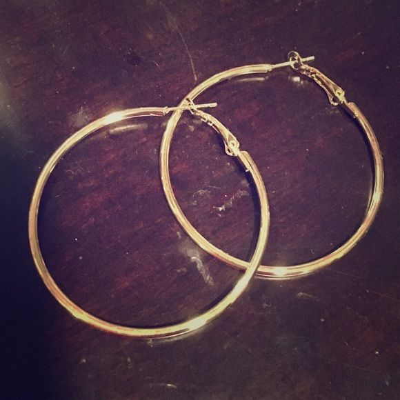 Gold plated hoops! Brand new gold plated hoops! 2 in stock Jewelry Earrings