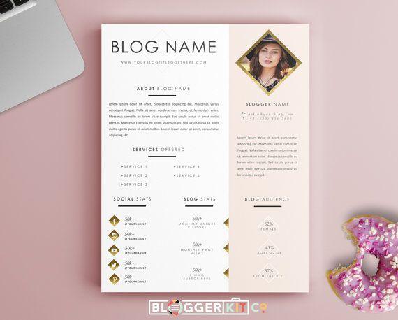 One Page Media Kit Template Press Kit Template Electronic Etsy Press Kit Template Media Kit Blog Media Kit