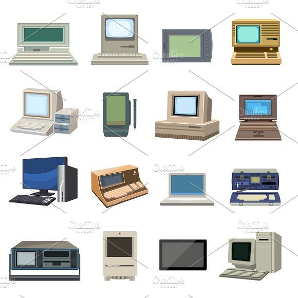 Vector Set Of Retro Computer Technology Icon Retro Settings