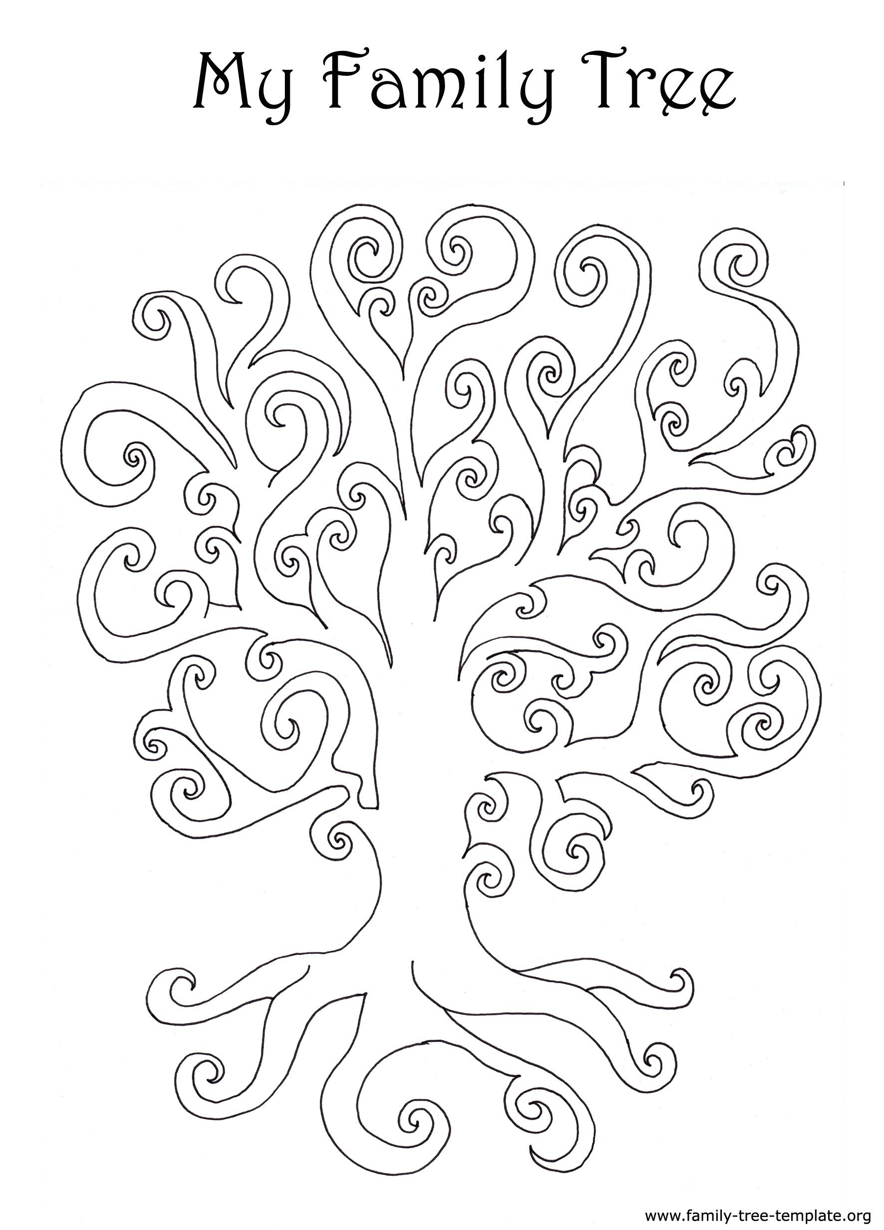 A Curly Art Nouveau Tree To Fill Out With Color Family TemplatesLife BookFamily