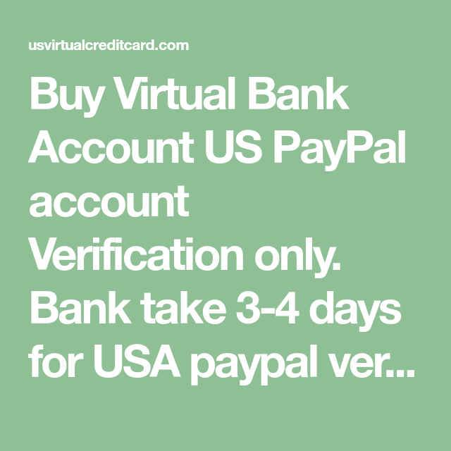 Buy Virtual Bank Account US PayPal account Verification only