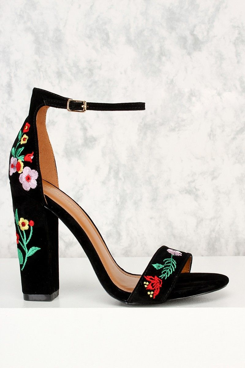 17910e4fd80 Buy Black Floral Patched Open Toe Chunky Heel Faux Velvet with cheap price  and high quality