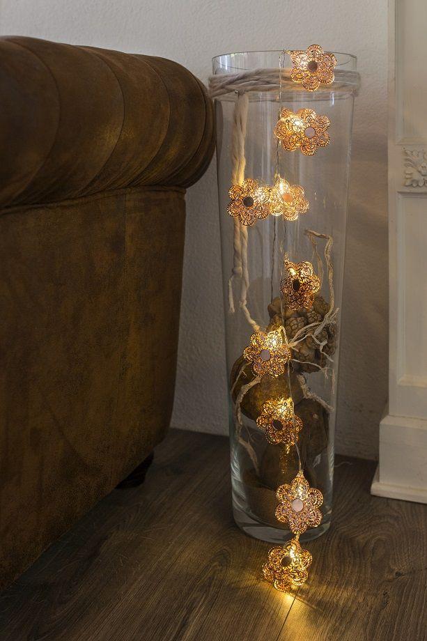 Metallblumen LED Deko-Lichterkette warm-weiß kupferfarben