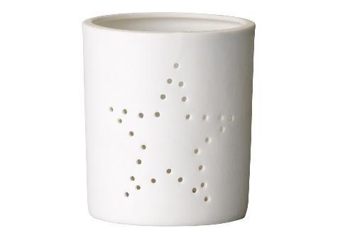 bloomingville - photophore en porcelaine mate ajouré etoile