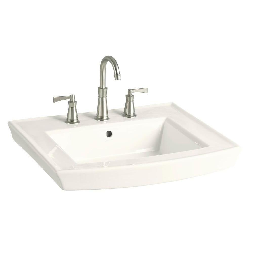 Kohler Archer 8 In Vitreous China Pedestal Sink Basin In Biscuit