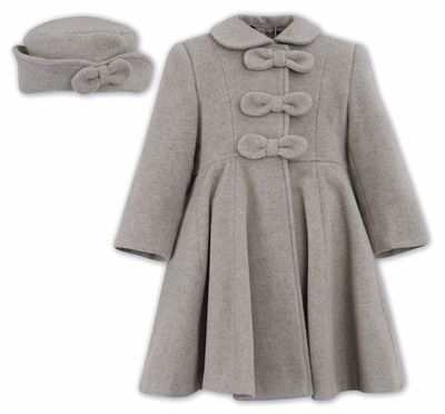 Sarah Louise Girls Grey Dress Coat with Bows - Matching Hat ...