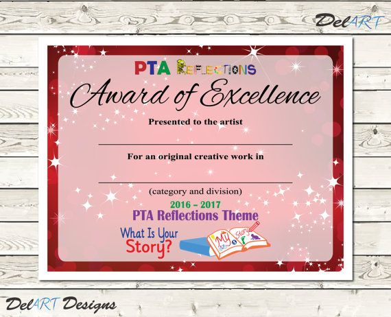 Pta reflections certificate 2016 2017 digital by delartdesigns pta reflections certificate digital printable pdf files or editable pdfs certificate template within reach theme inch yadclub Gallery