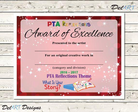 PTA Reflections Certificate, 2017-2018, Digital Printable PDF - school certificates pdf