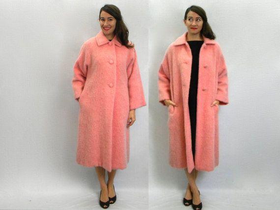 Vintage 60s Bubblegum Pink Mohair Coat Long Winter Coat, Medium ...